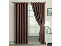 Blackout Curtains - Thermal Insulated - Ring Top - Eyelet Curtains (90 Wide X 90 Drop, Brown)