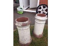 Pair of Clay Chimney Pots