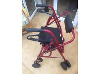 ROLLATOR / FOUR WHEEL WALKER WITH SEAT & SHOPPING BAG CARRIER AS NEW !