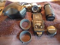 OLYMPUS OM10 SLR 35mm FILM CAMERA AND ADDITIONAL LENSES