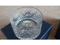 Engraved Tutbury cut glass bowl 17 X 10cms, gift for a firefighter