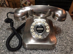 Crosley CR62 Kettle Classic Desk Phone BRUSHED CHROME(WORKING)