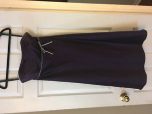 Plum and grey mid length dress