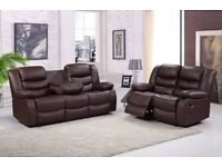 ERICA LUXURY 3&2 BONDED LEATHER RECLINER SOFA SET WITH DRINK HOLDER - *** FREE DELIVERY ***