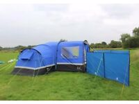 Zenobia 6 tent with xtra porch, windbreaks, table and chairs, cooker, coolbox and 3 toddler chairs.