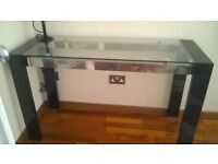 Glass Top Table for Sale - Black/Silver sides and Legs.