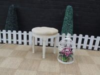 BEAUTIFUL CREAM VELVET DRESSING TABLE STOOL WITH PINE LEGS VERY SOLID STOOL