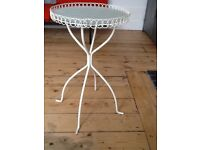 Small circular cream frosted glass top table for sale