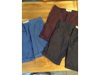 Three pairs men's Next branded smart tailored shorts