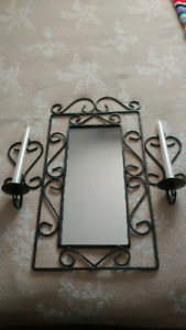 Rod Iron Wall Mirror with Candles