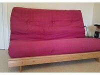 2 seater solid pine double sofa bed with mattress