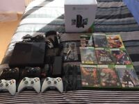 XBOX 360 E Console + 9 Games + 5 Controllers + X11 Headphones