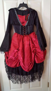 New Girl's Gothic Vampire Costume Dress and Cape Set size 7/8