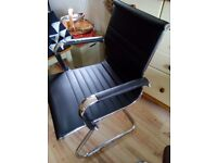 USED EAMES STYLE BLACK LEATHER CANTILEVER OFFICE CHAIR