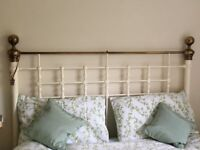 Metal Kingsize bednobs & broomsticks style bed head- excellent condition