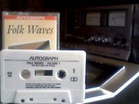 VARIOUS - BEST OF BRITISH FOLK / AUTOGRAPH - FOLK WAVES PRERECORDED CASSETTE TAPE rare version label