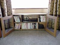 Argos Corner TV Stand Wood Cabinet with Glass Doors Excellent Condition! Beech Effect?