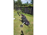 Full set of Masters golf clubs (Junior/ Small Womens) including trolley and travel case