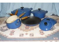 LE CREUSET BLUE 6 PAN SET