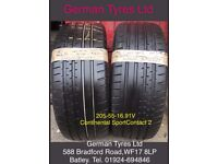 205-55-16 / 205-55 R16 Continental ContisportContact 2 Part Worn Tyres 5mm+ Tread