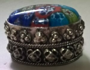 Silver Plated Trinket Box with Murano Millefiori Frozen Flowers