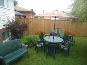 PATIO SET - 2 LOUNGE CHAIRS, BENCH, TABLE, UMBRELLA, 6 CHAIRS