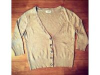 Wallis Petite Ladies Gold Shimmering Cardigan. Jewelled button detail - Size 14
