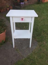 Ikea HEMNES side table with pink glass handle . Please read description