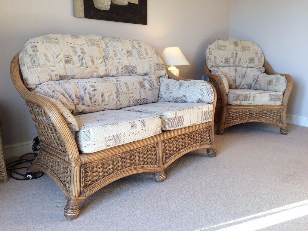 Quality Woven Rattan 2 Seater Sofa Chair With Matching Side  ~ Matching Sofa And Chairs