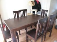 Oak furniture Large, solid dark wood dining table & 6 chairs