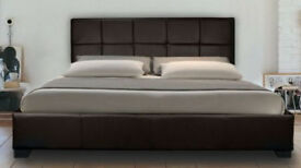 New Ohio BLACK Faux Leather 5ft King Size Bed with Memory Foam Mattress