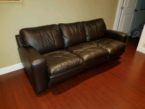 Genuine leather three seater sofa (opens into bed)