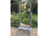 Shabby Chic Painted Grey Antique Style Cheval Mirror Solid Mahogany Very Heavy and Good Quality