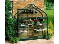 Small lean to aluminium greenhouse, sliding door, automatic opening window and staging.