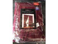 Claret faux silk lined curtains 90cm wide 90 cm drop £20 Ono