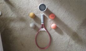 tennis racket & balls