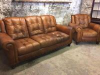 Vintage Tan Leather Two Piece Suite