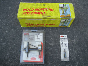 Mortising attachment, circle cutter and plug cutter.