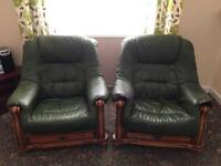 Leather sofa and two armchairs.