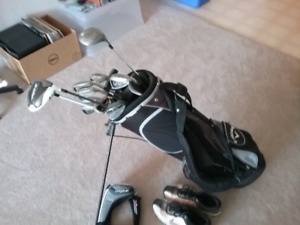 Golf bag and clubs few balls and tees, size 12 Nike golf shoes
