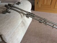 """Curtain Poles in brushed stainless steel NOW REDUCED - 150cm(59"""") exc.condition"""