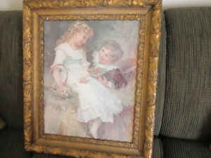 Antique Gold Frame with print of a Boy & Girl