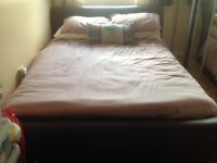 Large Double Faux Brown Leather Bed with mattress