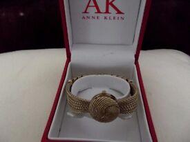 Anne Klein bow effect cocktail bracelet watch