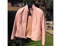 Light Pink Ladies Italian Leather Jacket