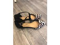 Flat leopard print shoes size 4