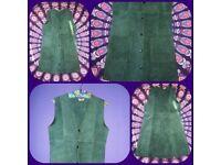 VINTAGE DARK BOTTLE GREEN 1970s SUEDE WAIST COAT TUNIC DRESS 8-12