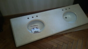 Marble 72 inch vanity top with 2 sinks