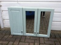 BATHROOM CABINET, WOODEN, PALE GREENY COLOUR.