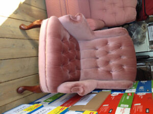 ANTIQUE PINK WING BACK CHAIR